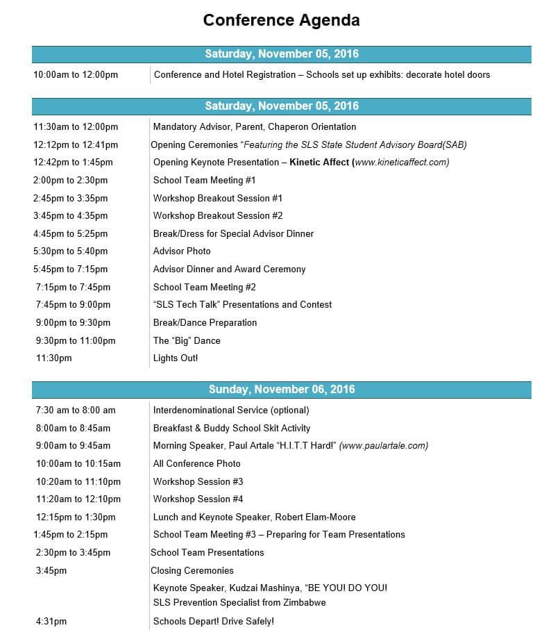 Agenda - Student Leadership Services